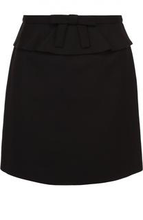 Мини-юбка с баской и бантом REDVALENTINO