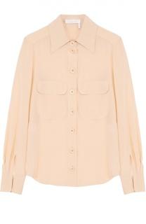 Шелковая блуза прямого кроя с накладными карманами Chloé