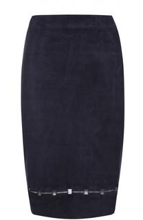 Замшевая юбка-миди с перфорацией Elie Tahari