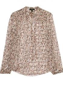 Шелковая полупрозрачная блуза с воротником аскот Theory