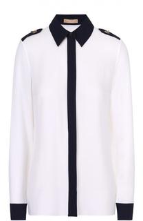 Шелковая приталенная блуза с контрастной отделкой Michael Kors