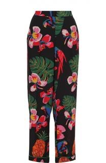 Шелковые брюки в пижамном стиле с ярким принтом Valentino