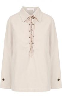 Вельветовая блуза прямого кроя со шнуровкой Chloé