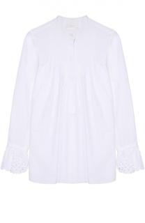 Хлопковая блуза свободного кроя с кружевной отделкой Chloé