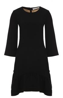 Приталенное платье с укороченным рукавом и оборками Chloé