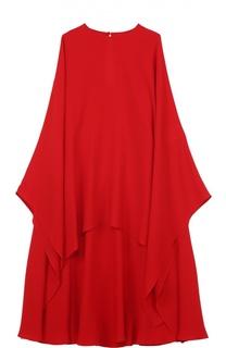 Шелковое платье свободного кроя с кейпом Valentino