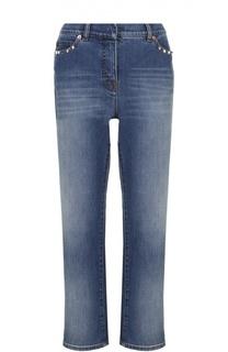 Укороченные расклешенные джинсы с шипами Valentino
