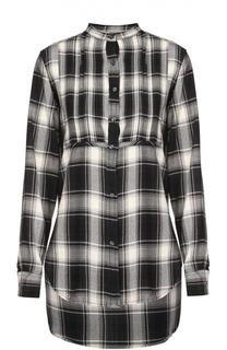Блуза в клетку с удлиненной спинкой и воротником-стойкой Denim&Supply by Ralph Lauren