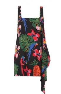 Шелковое мини-платье с ярким принтом и оборкой Valentino