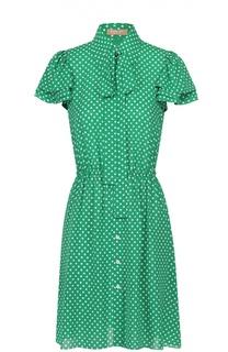 Шелковое платье в горох с воротником аскот Michael Kors