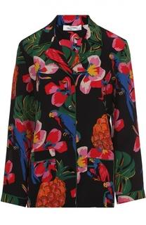 Шелковая блуза с пижамном стиле с ярким принтом Valentino