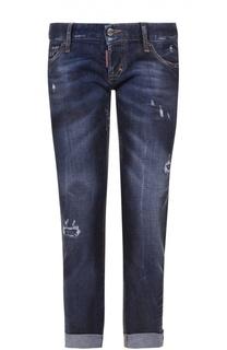 Укороченные джинсы с потертостями и отворотами Dsquared2