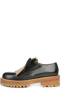 Кожаные ботинки с контрастной бахромой Marni