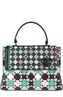Кожаная сумка с геометрическим принтом Emilio Pucci