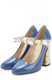 Кожаные туфли Nimue с бантом и тиснением Gucci