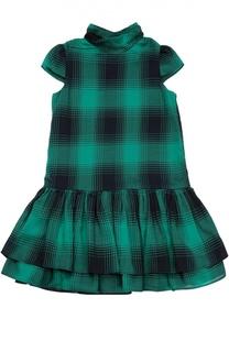 Платье из смеси хлопка и шерсти с пышной юбкой Polo Ralph Lauren
