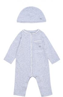 Хлопковая пижама в комплекте с шапкой Burberry