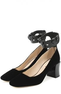 Туфли из текстиля с ремешком на щиколотке Fendi