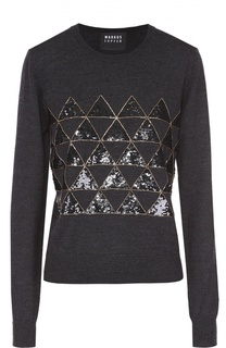 Пуловер прямого кроя с контрастной вышивкой Markus Lupfer