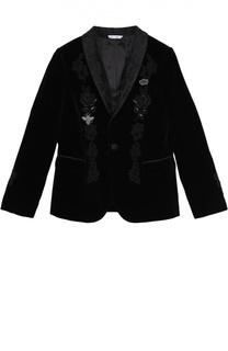 Бархатный пиджак с вышивкой Dolce & Gabbana