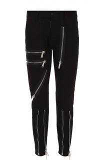 Зауженные джинсы с заниженной линией шага и декоративными молниями Dsquared2