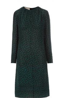 Шелковое платье прямого кроя с контрастным принтом Marni
