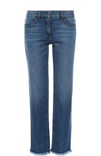 Укороченные джинсы прямого кроя с бахромой Theory