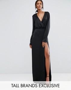 Черное платье макси с запахом, длинными рукавами и разрезом до бедра TTYA - Черный Taller Than Your Average