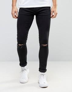 Черные супероблегающие джинсы с дырками на коленях Ringspun - Черный