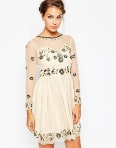 Приталенное платье миди с отделкой Frock and Frill - Кремовый