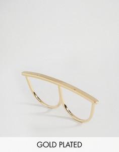 Позолоченное кольцо на два пальца с кристаллом Orelia - Золотой