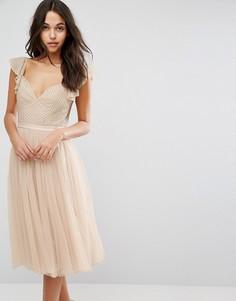 Платье миди из тюля с рукавами рюшами Needle & Thread Swan - Розовый