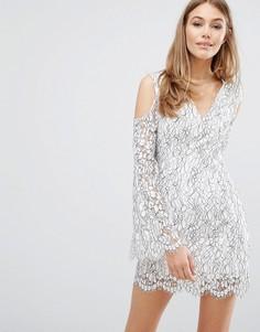 Кружевное платье с вырезами на плечах Keepsake - Белый