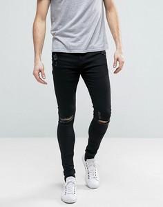 Обтягивающие джинсы скинни с потертостями Brooklyn Supply Co - Черный