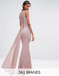 Плиссированное платье макси с открытой спиной Little Mistress Tall - Розовый