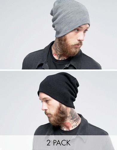 Набор из 2 мешковатых шапок-бини (черная/серая) Gregorys - Мульти
