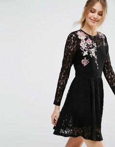 Кружевное платье мини с цветочным узором ASOS - Черный