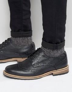 Черные фактурные кожаные броги Frank Wright - Черный