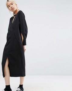 Платье миди с вырезами на рукавах ASOS WHITE - Темно-синий
