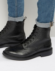 Кожаные ботинки-броги на шнуровке Zign - Черный