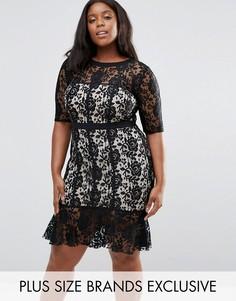 Кружевное платье с оборкой на подоле Paper Dolls Plus - Черный