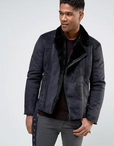 Байкерская куртка из искусственной овчины Barneys - Черный Barneys Originals