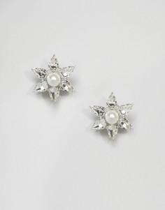 Серьги-звездочки с кристаллами Swarovski от Krystal - Серебряный