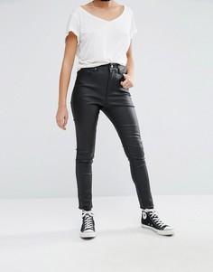 Вощеные зауженные джинсы с высокой талией Liquor & Poker - Черный