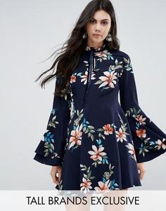 Короткое приталенное платье с расклешенными рукавами Glamorous Tall - Мульти