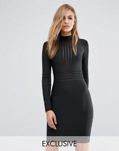Бандажное платье с высокой горловиной и сетчатыми вставками WOW Couture - Черный