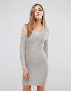Платье-свитер с эффектом металлик и длинными рукавами WOW Couture - Золотой