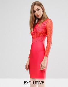 Бандажное платье с кружевом WOW Couture - Красный