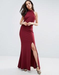 Платье макси с открытой спиной и высоким разрезом Club L - Красный