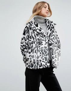 Пальто из искусственного меха с леопардовым принтом Helene Berman - Мульти